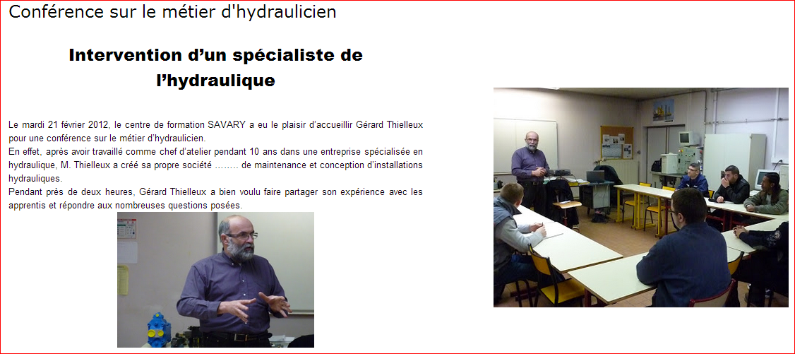 conférence hydraulicien hydraulique